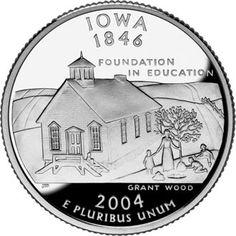 grant wood, iowa girl, iowa quarter, iowa state quarter, 50 state