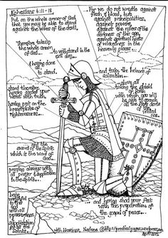 Full armor of God (boy coloring page)