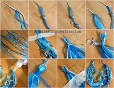 "THE TUTORIAL:  * wrap with tape few pieces of ribbons   I used:- some satin 1/4"" wide ribbon in turquoise- some satin cord in baby blue - blue tulle-like ribbon - some ripped pieces 1/2"" wide of silk   * Measure on your wrist, eventually cut the excess ribbons  * repeat on the other end with the ring"