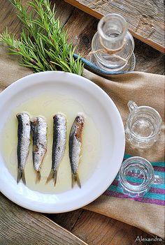 Greek mezes:Salted sardines with ouzo!