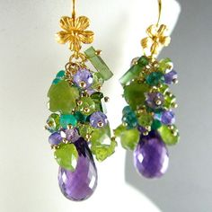 Purple and Green Gemstone Cluster Gold Filled Earrings - Amethyst, Peridot, Vesuvianite, Tourmaline