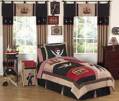 Black & Red Pirate Comforter Bedding Set for Boys #kidsroomstore $109.99