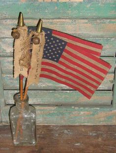 Primitive American Flag with stamped banner handmade by Prairie Primitives Folk Art. Available on Etsy for just $6.00 each!