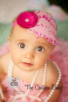 Pink Crush Headband from The Couture Baby baby headbands, feather pad, infant, pink, bow, feathers, flappers, flapper babi, babi headband