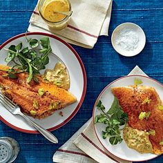 "Crab-Stuffed Catfish Fillets with Cajun Rémoulade | Chef Rusty Hamlin feeds the Zac Brown Band members and their fans at big, casual ""Eat and Greet"" suppers when the band is touring. Here's one of Rusty's favorite dishes, which he serves with Cajun Rémoulade and grits. 