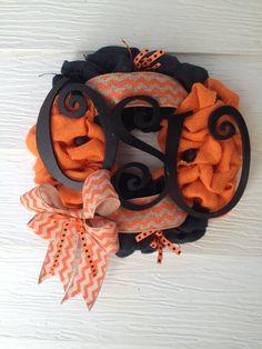 "OSU 12"" orange and black burlap wreath"