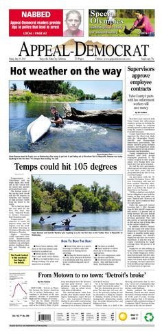 Appeal-Democrat front page for Friday, July 19, 2013.