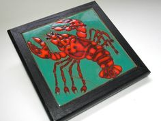 Framed Triton Tile Red Lobster Aqua Background by borahstyle, $20.00