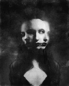 face, art, black white, dark, dihaz, inspir, multipl person, goddess, photographi