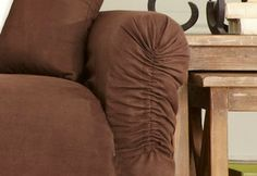 Sure Fit Slipcovers: New Innovations for the New Year available exclusively at Sure Fit! - Cinched Design #Slipcover For Adjustable Arm Fits.