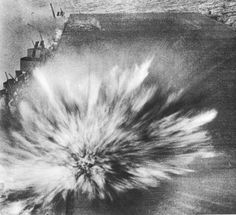 The last shot. This Japanese Bomb hit the flight deck of USS Enterprise, costing the photographer of this picture his life. August 24, 1942.