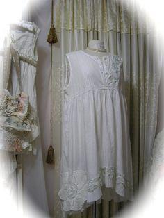Shabby White Dress refashioned tattered shabby n chic style by TatteredDelicates Etsy