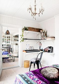 interior design, decor, dream, hous, homes, corner shelves, modern interiors, bohemian, bedroom