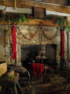 primitive christmas decorations | Primitive Christmas Ideas~ / Love the fireplaces!