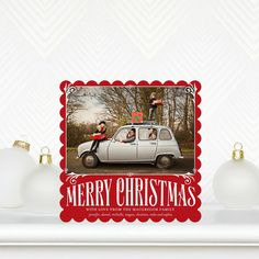 Vintage Christmas - #Christmas Cards in Scarlet Red with scallop trim edges