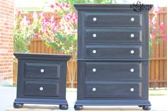 #GeneralFinishes Lamp Black and Java Gel stain used to ReStyle this chest and nighstand set.  Visit http://www.highstylerestyle.com/ to learn more tips & techniques or follow us on Facebook.