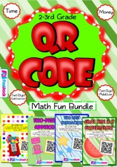 QR Code Math Fun Bundle (2nd-3rd Grade) - QR codes are all the rage, and they will have your students wanting to do all sorts of math problems! Each title contains 12 self-checking center/task QR code cards, one recording sheet, and one 10-problem worksheet. $