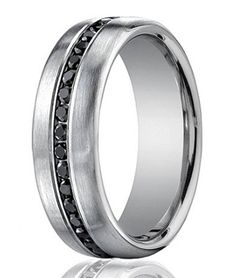 Guys Wedding Band 20 Black Diamonds Perfect