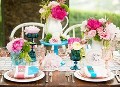 I like the different color pinks and quintessential victorian tea party look to this table setting.