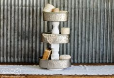 Repurposed Tiered Stands via Knick of Time @ knickoftimeinteriors.blogspot.com