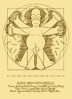 Simpson parody of the Vitruvian Man. This was Da Vinci's drawing of the perfect man. He showed how the perfect man fitted perfectly inside both a square and a circle. Instead of a circle, Homer fits in perfectly inside a donuts. The control remote and the hotdogs however are add on.