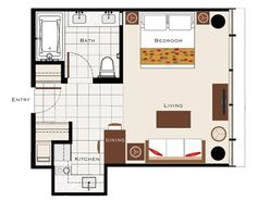400 sq. ft. Trump Hotel suite layout in that would work for a studio apt. 400 sq ft apartment, studios, studio layout, studio apt ideas, hotel suite, trump hotel, guest houses, suit layout, hotels