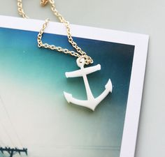 Anchor Necklace  Nautical Style Gold and White by iluxo on Etsy, $9.99
