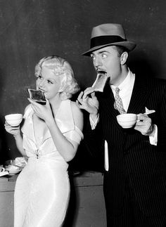 Jean Harlow and William Powell on the set of Reckless, 1935
