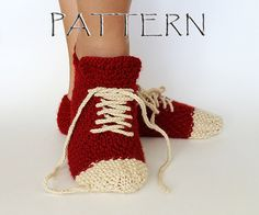 Knit these unique sneakers slippers, that youll love.  Make several and give them as gifts! This is a pattern only, not the actual slippers!    Size: