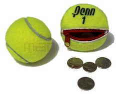 I think this is adorable! Recycled Tennis Ball Round/Compact Change Holder by MANIkordstudio