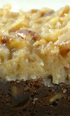 German Chocolate Brownie these are incredible! This recipe has an extra thick layer of Pecan Coconut Frosting