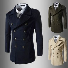 Military Men Fashion Double Breasted Wool Coat | Sneak Outfitters