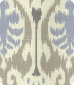 Blue and grey ikat upholstery fabric
