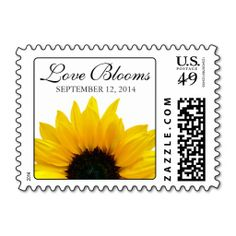 """Simple and pretty yellow sunflower """"Love Blooms"""" wedding date postage. Perfect to use as your wedding invitation stamps.   There is also a RSVP and thank you version available with this same design. It is also available in a variety of background colors.   $24.15 per sheet of 20.   #weddings #sunflower #weddingpostage #weddinginvitations"""