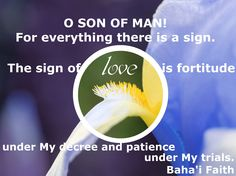 O SON OF MAN!  For everything there is a sign. The sign of love is fortitude under My decree and patience under My trials.  Baha'i Faith Hidden Words Source: http://reference.bahai.org/en/t/b/HW/hw-49.html Music by Rosanna Lea Free listening: http://rosannalea.bandcamp.com/track/there-is-a-sign    Photo by: Love is the Secret