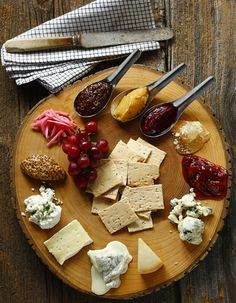 SERIOUS cheese plate...like the slice of tree server.
