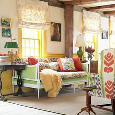 The home's style eventually evolved in all sorts of bright directions, as Mackie fearlessly revived antiques—many of them family heirlooms—with bold colors and prints.