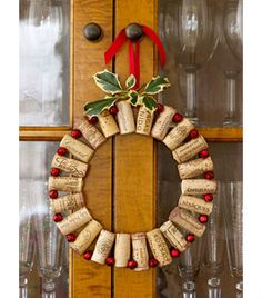 Gather wine corks from parties, special events or your favorite restaurant and use them to add a little cheer to your front door or your kitchen. Good Housekeeping explains how to string the corks together with jingly red bells using floral wire.