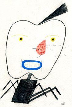 Spider Apple head by TheSmallFactory, via http://www.etsy.com/treasury/ODM1OTk4NHwyMDQzNjAzMTYx/valentines-and-apples