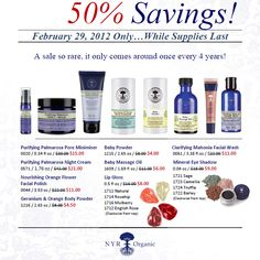 ONE DAY ONLY!!  50% off of some of my favorite NYR Organic wonderfulness.  Everyone is super excited to stock up.  If you have not tried NYR Organic today is your chance to glow with little $! I can not go a day without my NYR Organic.
