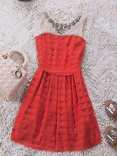 Red Round Neck Sleeveless Sequined Pleated Polyester Tiered Dress :)