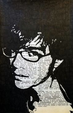 India ink Portrait on Dictionary pages