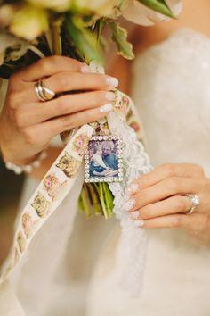 sentimental bouquet wrap http://www.weddingchicks.com/2013/10/28/vintage-wedding/