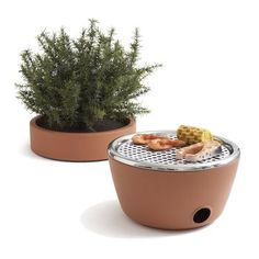 Hot-Pot BBQ. The Hot-Pot BBQ from design team Black+Blum hides a barbecue grill inside a beautiful terra cotta planter, complete with a fully-functioning herb garden.  $124.00