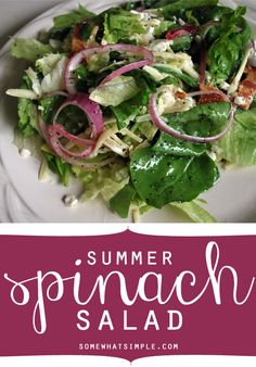 Summer spinach salad recipe from SomewhatSimple.com