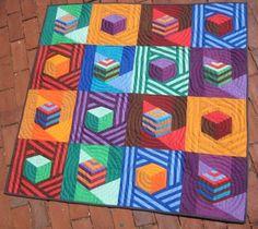 Modern Tumbling Blocks Baby Quilt block modern, babi quilt, baby quilts, block httpwwwpippapatchworkcom, quilt inspir, jazz, tumbl block, patchwork babi, modern patchwork