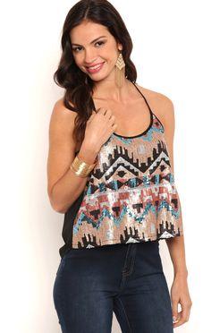 Deb Shops Sleeveless Aztec Sequin Pattern Tank Top $15.75