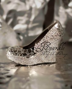 Mirror Glass Wedding Wedge High Heel Pump with Swarovski Crystals AB and White Pearls. $300.00, via Etsy.