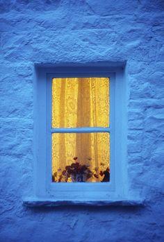 Ireland Cottage Window At Night