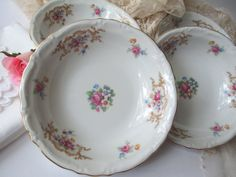 Vintage Kronester Monroe Pink Floral Berry Bowls by thechinagirl